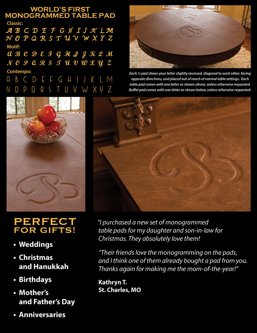 monogram details for custom made table pads